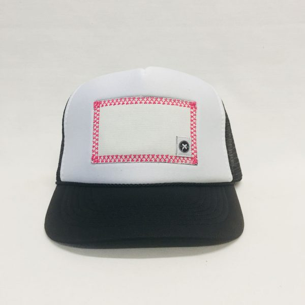 Scratch-A-Patch Black and White Hat Pink Trim